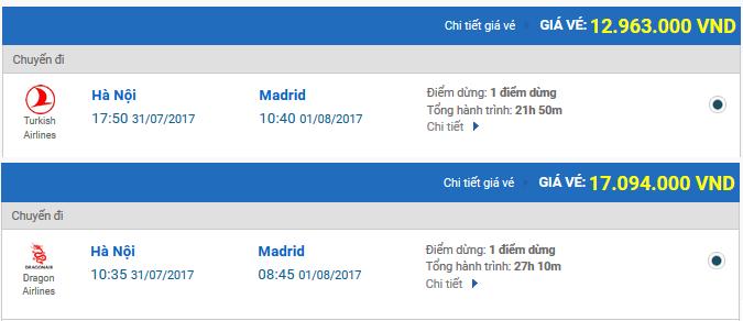 Vé máy bay đi Madrid