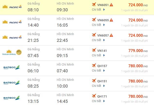 Bảng giá vé máy bay Đà Nẵng Sài Gòn